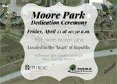 Moore Park Dedication