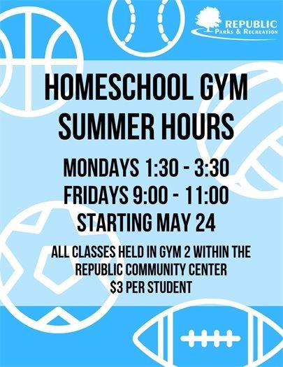 Homeschool Gym Summer Hours