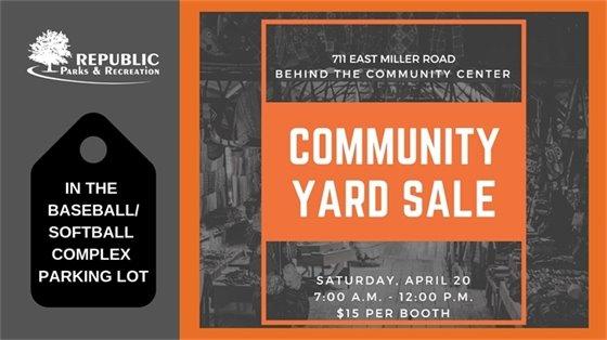 Community Yard Sale Saturday, April 20