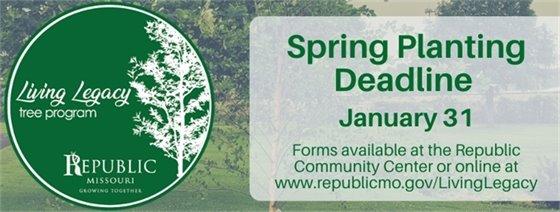Living Legacy Tree Program Spring Planting Deadline