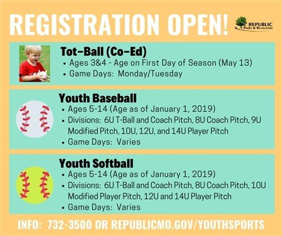 Baseball & Softball Registration Ends Friday, April 5