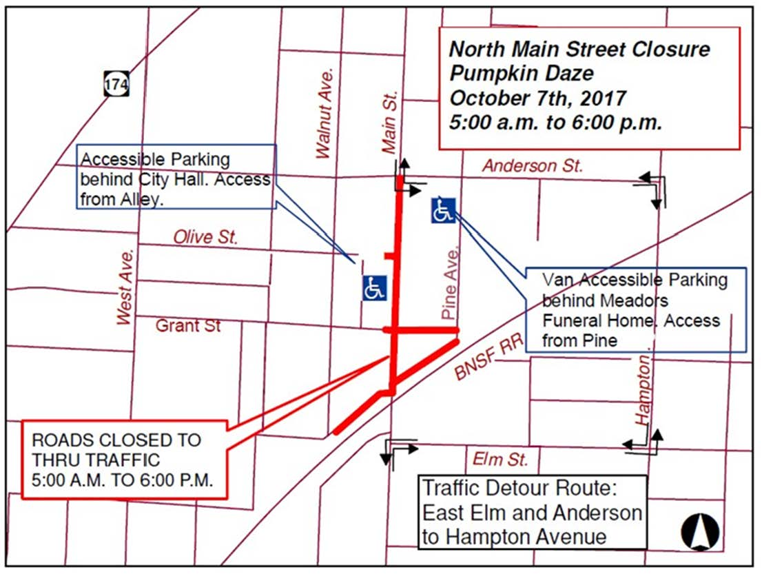 Street Closures - Pumpkin Daze 2017
