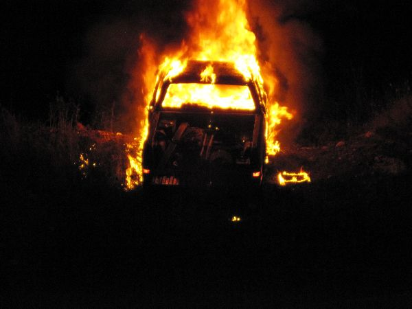Car on Fire at Night