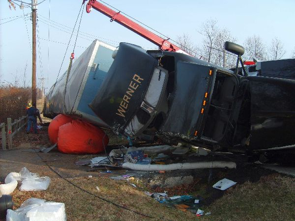 Semi on Side after Accident